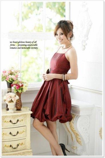 Women Slim Bubble Dress Red