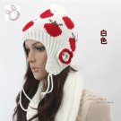 Flower Crystal Knitted Hat White