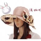 Ladies Flower Floppy Hat Light Coffee
