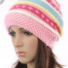 Stripes Pattern Knitted Hat Pink