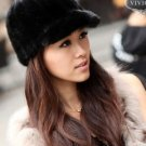 Real Mink Peaked Cap Black