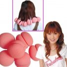 Magic Soft Sponge Hair Care Roller Curler - Pink 6pcs