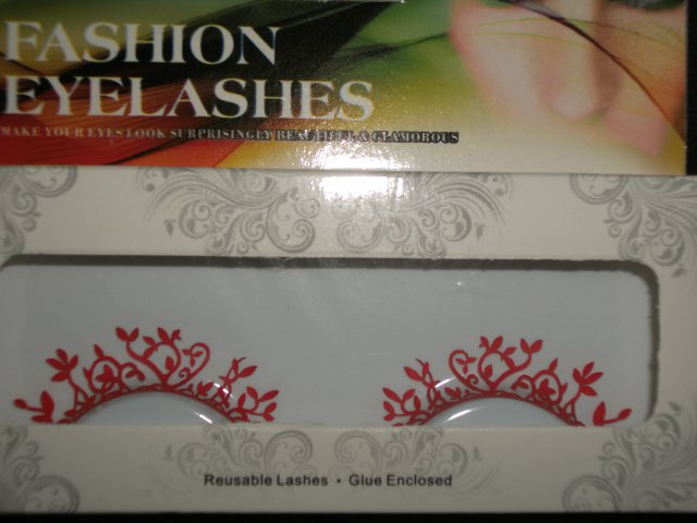#62 Fashion fake reuseable eyelashes (red plant picture) G NBU NBW NBO