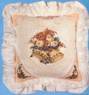 CROCHET LACE WEDDING PILLOW - embroiderey and ribbons