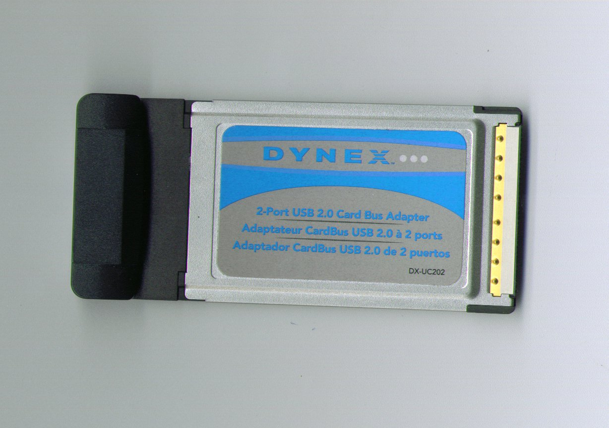 DYNEX 2-Port USB 2.0 CARD BUS ADAPTER for laptops, Notebooks & Computers with 2 HIGH SPEED USB PORTS