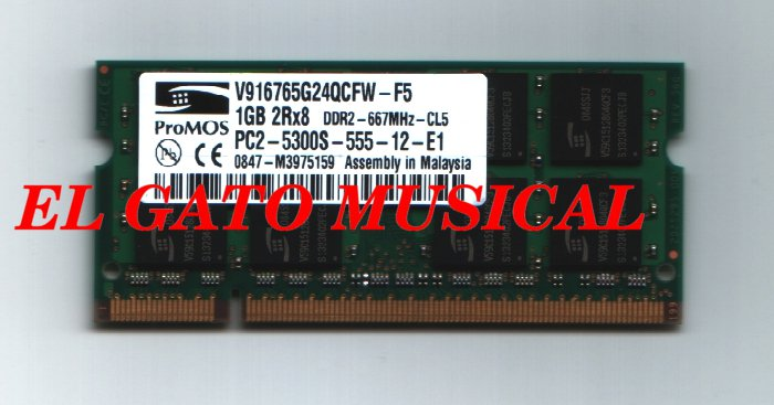1GB RAM MEMORY 2Rx8 PC2-5300S for LAPTOP COMPUTERS (for HP MINI 1000 and many other laptops)
