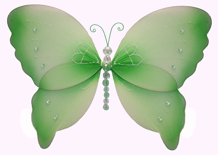 "7"" Green Crystal Butterfly - nylon hanging ceiling wall nursery bedroom decor decoration decorations"