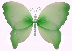 """10"""""""" Green Crystal Butterfly - nylon hanging ceiling wall baby nursery room wedding decor decoration"""