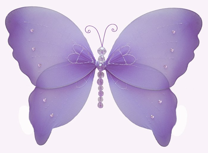 "7"""" Purple Crystal Butterfly - nylon hanging ceiling wall baby nursery room wedding decor decoration"