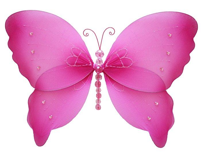 "7"""" Dark Pink (Fuschia) Crystal Butterfly - nylon hanging ceiling wall baby nursery room wedding dec"