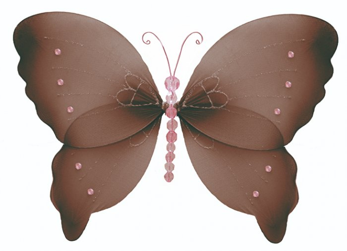 """10"""""""" Brown Pink Crystal Butterfly - nylon hanging ceiling wall baby nursery room wedding decor decor"""