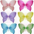 "7"""" Lot Crystal Butterflies 6 piece Set butterfly (Pink, Dark Pink (Fuschia), Purple, Yellow, Blue,"