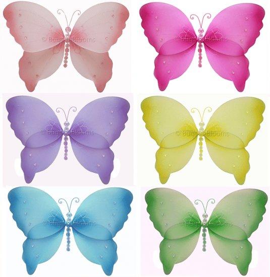 "13"""" Lot Crystal Butterflies 6 piece Set butterfly (Pink, Dark Pink (Fuschia), Purple, Yellow, Blue,"