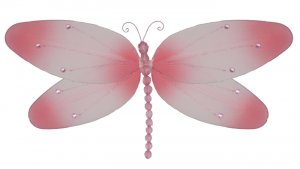 "7"""" Pink Crystal Dragonfly - nylon hanging ceiling wall baby nursery room wedding decor decoration d"