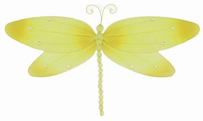 "7"""" Yellow Crystal Dragonfly - nylon hanging ceiling wall baby nursery room wedding decor decoration"