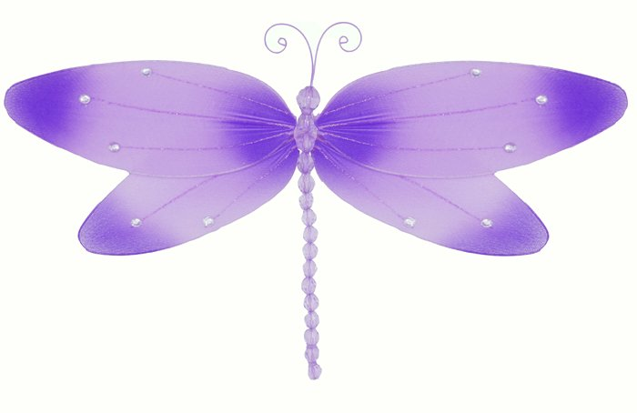 "7"""" Purple Crystal Dragonfly - nylon hanging ceiling wall baby nursery room wedding decor decoration"