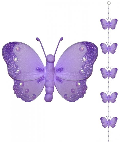 Purple Butterfly Garland String Mobile - nylon hanging ceiling wall baby nursery room wedding decor