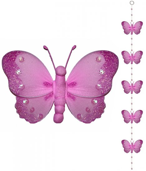 Dark Pink (Fuschia) Butterfly Garland String Mobile - nylon hanging ceiling wall baby nursery room w