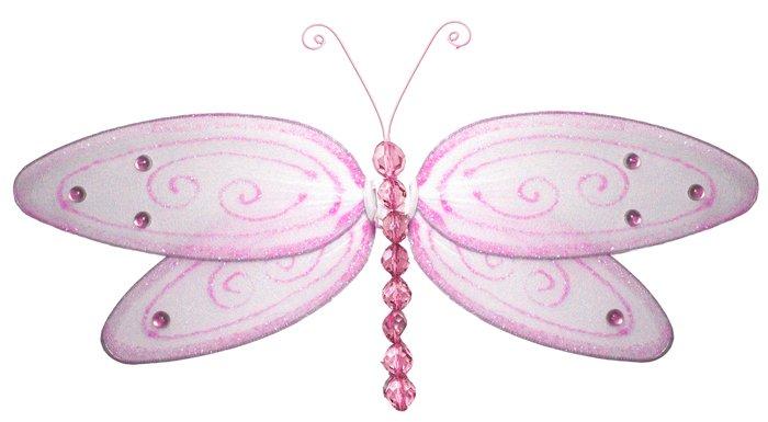 "10"""" Pink Glitter Dragonfly - nylon hanging ceiling wall baby nursery room wedding decor decoration"