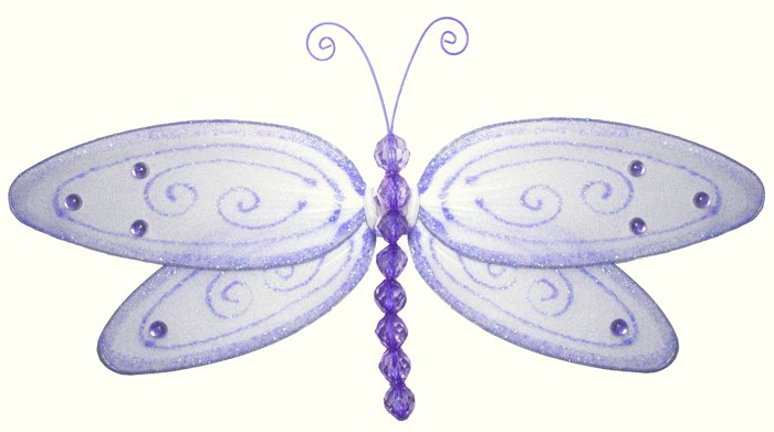 "13"""" Purple Glitter Dragonfly - nylon hanging ceiling wall baby nursery room wedding decor decoratio"