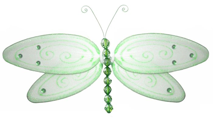 "5"""" Green Glitter Dragonfly - nylon hanging ceiling wall baby nursery room wedding decor decoration"