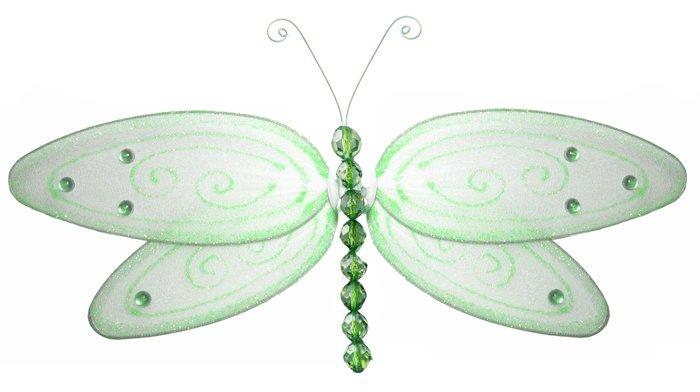 "10"""" Green Glitter Dragonfly - nylon hanging ceiling wall baby nursery room wedding decor decoration"