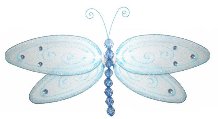 "13"""" Blue Glitter Dragonfly - nylon hanging ceiling wall baby nursery room wedding decor decoration"