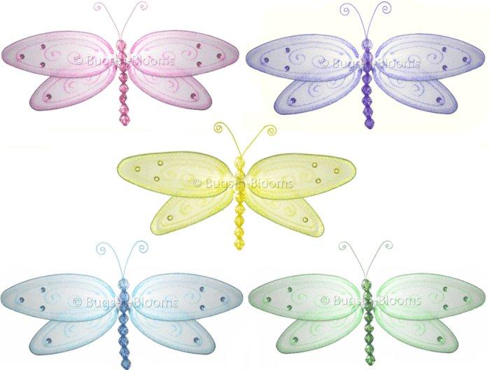 "10"""" Lot Glitter Dragonflies 5 piece Set dragonfly (Pink, Purple, Yellow, Blue, Green) - nylon hangi"