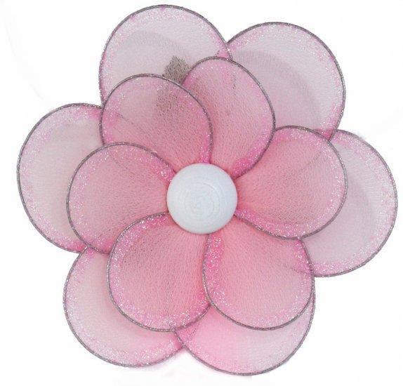 "8"""" Pink Glitter Layered Daisy Flower - nylon hanging ceiling wall baby nursery room wedding decor d"