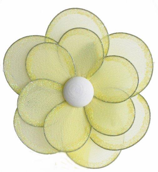 "8"""" Yellow Glitter Layered Daisy Flower - nylon hanging ceiling wall baby nursery room wedding decor"