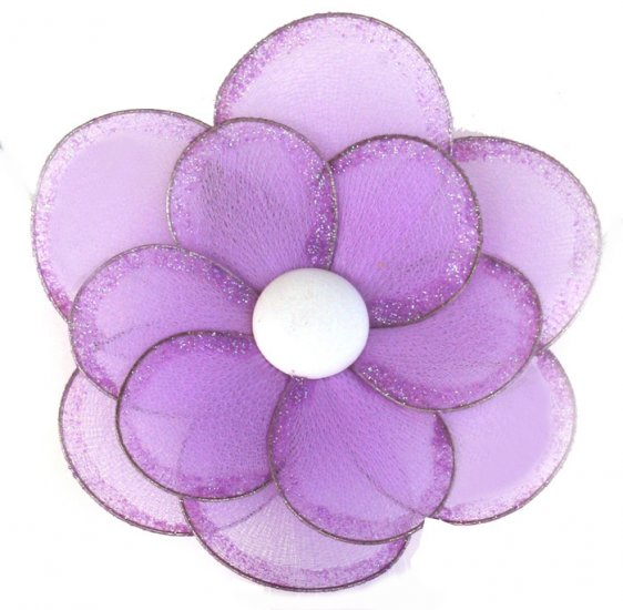 "8"""" Purple Glitter Layered Daisy Flower - nylon hanging ceiling wall baby nursery room wedding decor"