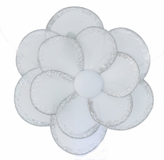 "8"""" White Glitter Layered Daisy Flower - nylon hanging ceiling wall baby nursery room wedding decor"