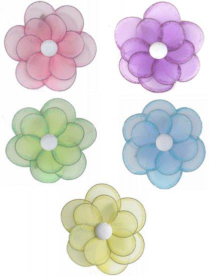 "8"""" Lot Glitter Daisy Flowers 5 piece Set daisies flower (Pink, Purple, Yellow, Blue, Green) - nylon"