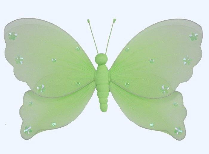 "5"""" Green Jewel Butterfly - nylon hanging ceiling wall baby nursery room wedding decor decoration de"