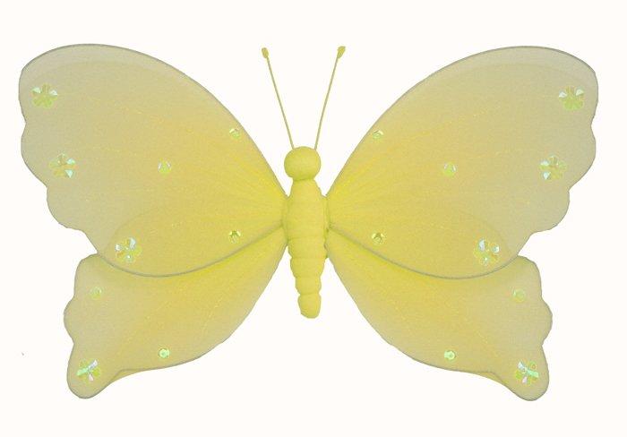 "5"""" Yellow Jewel Butterfly - nylon hanging ceiling wall baby nursery room wedding decor decoration d"