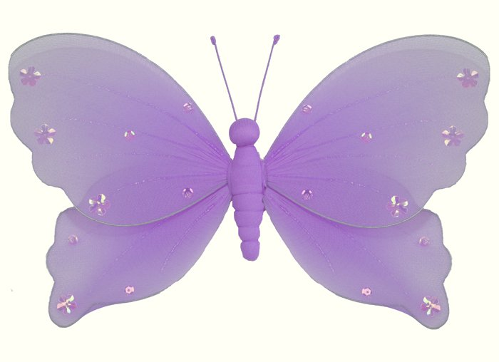 "5"""" Purple Jewel Butterfly - nylon hanging ceiling wall baby nursery room wedding decor decoration d"