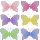 "10"""" Lot Jewel Butterflies 6 piece Set butterfly (Pink, Dark Pink (Fuschia), Purple, Yellow, Blue, G"