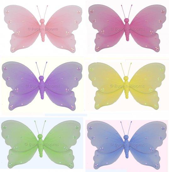 "13"""" Lot Jewel Butterflies 6 piece Set butterfly (Pink, Dark Pink (Fuschia), Purple, Yellow, Blue, G"