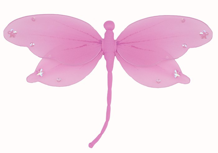 "5"""" Dark Pink (Fuschia) Jewel Dragonfly - nylon hanging ceiling wall baby nursery room wedding decor"