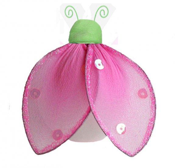 "4"""" Green Pink Glitter Ladybug - nylon hanging ceiling wall baby nursery room wedding decor decorati"