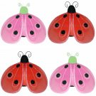 "4"""" Lot Shimmer Ladybugs 4 piece Set ladybug (Pink & Green, Red & Black) - nylon hanging ceiling wal"