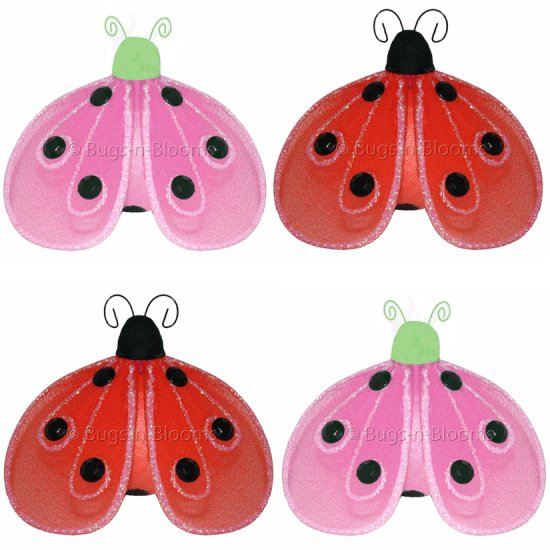"8"""" Lot Shimmer Ladybugs 4 piece Set ladybug (Pink & Green, Red & Black) - nylon hanging ceiling wal"