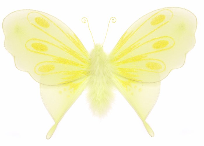 """13"""""""" Yellow Marabou Feathers Butterfly - nylon hanging ceiling wall baby nursery room wedding decor"""