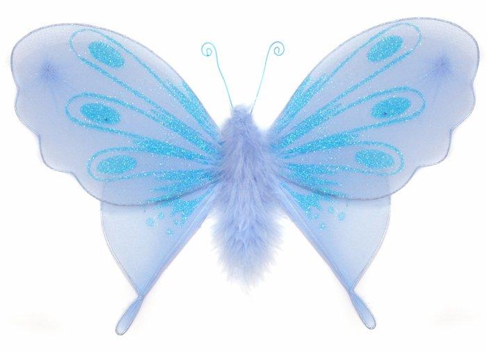 "10"""" Blue Marabou Feathers Butterfly - nylon hanging ceiling wall baby nursery room wedding decor de"