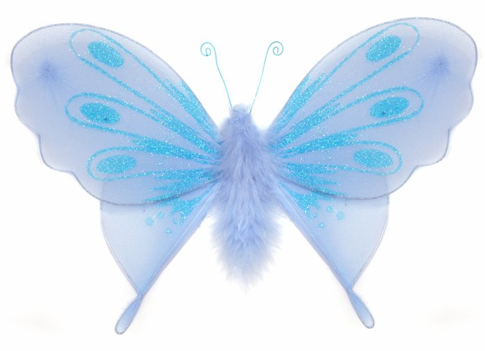 "13"""" Blue Marabou Feathers Butterfly - nylon hanging ceiling wall baby nursery room wedding decor de"