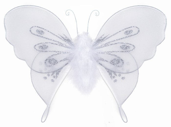 """10"""""""" White Marabou Feathers Butterfly - nylon hanging ceiling wall baby nursery room wedding decor d"""