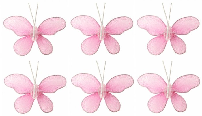 "2"""" Pink Mini Glitter Butterfly Butterflies 6pc set - nylon hanging ceiling wall baby nursery room w"