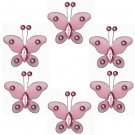"2"""" Pink Mini Bead Butterfly Butterflies 6pc set - nylon hanging ceiling wall baby nursery room wedd"