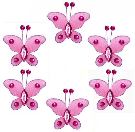 "2"""" Dark Pink (Fuschia) Mini Bead Butterfly Butterflies 6pc set - nylon hanging ceiling wall baby nu"