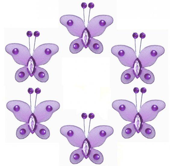 "2"""" Purple Mini Bead Butterfly Butterflies 6pc set - nylon hanging ceiling wall baby nursery room we"